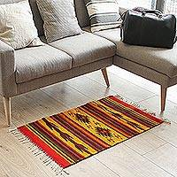 Zapotec wool rug, 'Burning Arrows' (2x3) - Unique Geometric Wool Area Rug (2x3)