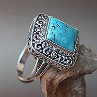Turquoise cocktail ring, 'Window on Heaven' - Sterling Silver Handcrafted Natural Turquoise Cocktail Ring