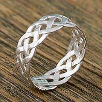 Sterling silver band ring, 'Hope Weave' - Sterling Silver Braid Motif Band Ring from Mexico