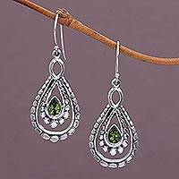 Peridot dangle earrings, 'Drop of Green' - Sterling Silver and Peridot Dangle Earrings from Indonesia