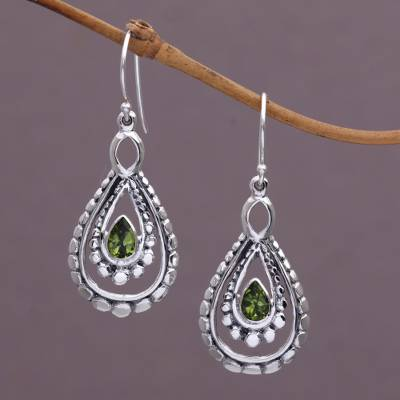 Peridot Dangle Earrings Drop Of Green Sterling Silver And