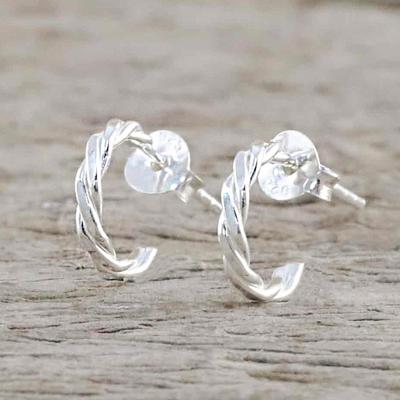 Novica Sterling silver half hoop earrings, Intricately Minimal