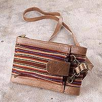 Wool accented leather wallet bag, 'Rustic Elegance' - Leather and Wool Wallet Bag from Peru