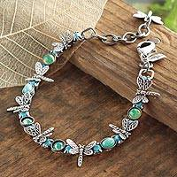Sterling silver plated link bracelet, 'Dragonfly Good Luck' - Silver Plated Dragonfly Good Luck Link Bracelet