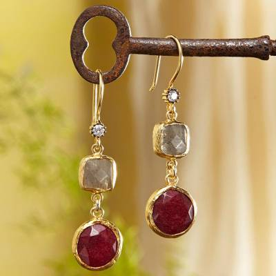 Gold plated labradorite and quartz dangle earrings, 'Golden Horn' - Golden Horn Labradorite and Quartz Dangle Earrings
