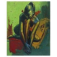 'The Key' - Signed Expressionist Painting of a Nude Woman from Java