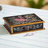 Reverse painted glass decorative box, 'Playful Dragonflies' - Handmade Black and Gold Box with Dragonflies from Peru