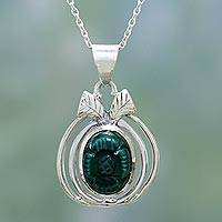 Malachite pendant necklace, 'Peace Blossom' - Malachite pendant necklace