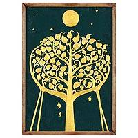 'Buddhism Pipal Tree' - Original Framed Acrylic Painting Pipal Sacred Fig Tree