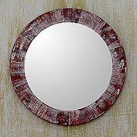 Wood wall mirror, 'Rustic Wine' - Rustic Wine and Off White Round Wood Wall Mirror