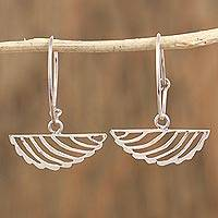 Sterling silver dangle earrings, 'Fresh Leaves' - Sterling Silver Endless Hoop Dangle Earrings from Mexico