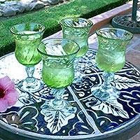Blown glass goblets, 'Lime Twist' (set of 4) - Handblown Glass Green Cocktail Drinkware from Mexico