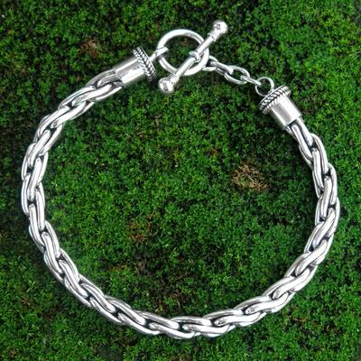 Sterling Silver Braided Bracelet Twist Sphere Handmade Chain