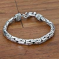 Men's sterling silver braided bracelet, 'Silver Dragon' - Men's Sterling Silver Bracelet