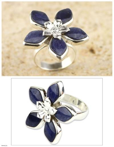 Sodalite flower ring, Forget Me Not