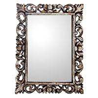 Gilt on wood mirror, 'Antique Garland II' - Antique Style Mirror with Frame Hand Made Silver Gilt Wood