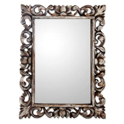 Antique Style Mirror with Frame Hand Made Silver Gilt Wood - Antique ...