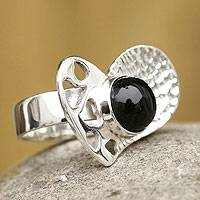 Obsidian heart ring, 'Love Love Love' - Handcrafted Silver and Black Obsidian Ring