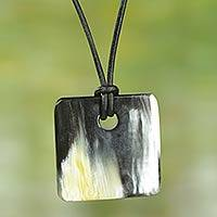 Square bull horn pendant necklace, 'Breeze' - Handmade Square Bull Horn Pendant Necklace with Leather Cord