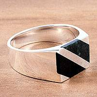 Men's jade ring, 'Lord of the Land' - Artisan Crafted Black and Green Jade Inlay Modern Men's Ring