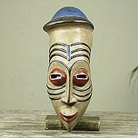 African wood mask, 'Frafra Youth' - Colorful African Mask inspired by Northern Ghana