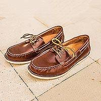 Men's leather boat shoes, 'Deck Days' - Men's Brown Oiled Leather Boat Shoe