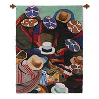 Wool tapestry, 'Market in Cuzco' - Wool tapestry