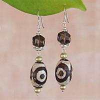 Pearl and DZI Tibet dangle earrings, 'Exotic' - Pearl and DZI Tibet dangle earrings