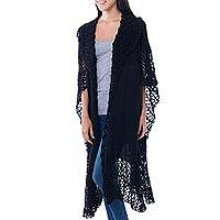100% alpaca ruana cloak, 'Ebony Whisper' - Lacy Knitted Black 100% Alpaca Long Cape from Peru