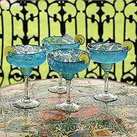 Margarita glasses, 'Aqua Freeze' (set of 4) - Hand Blown Margarita Glasses Set of 4 Blue Mexico