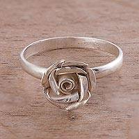 Sterling silver cocktail ring, 'In Full Bloom' - Sterling Silver Blooming Rose Cocktail Ring