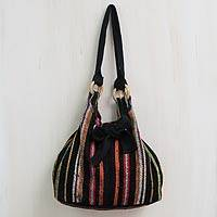 Wool hobo bag, 'Dance La Carolina' - Peruvian Black Wool Hobo Bag with 3 Pockets