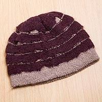 Alpaca blend hat, 'Andean Winter in Maroon' - Maroon and Ash Grey Alpaca Blend Beanie Hat Knitted in Peru
