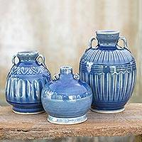 Celadon ceramic vases, 'Sawankhalok Sky' (set of 3) - Celadon Ceramic Blue Vases (Set of 3)
