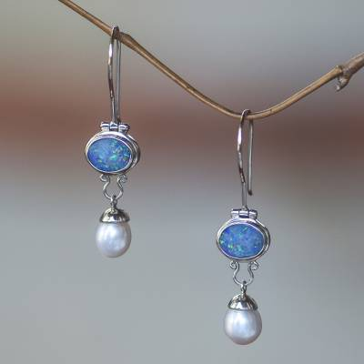 Cultured Pearl And Opal Dangle Earrings Harmony Sterling