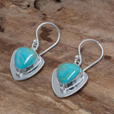 Turquoise Dangle Earrings Pyramids Of Friendship Unique Taxco Silver