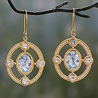 Gold vermeil blue topaz dangle earrings, 'Four Winds' - Sparkling Blue Topaz Gold Vermeil Earrings with CZ