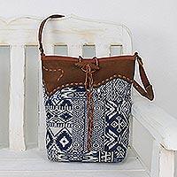Novica Leather accent cotton blend sling, Sapphire Journey