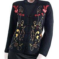 100% alpaca cardigan, 'Orchids' - 100% Alpaca V Neck Cardigan in Black Floral