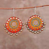 Ceramic dangle earrings, 'Orange Dream' - Hand-Painted Orange and Golden Ceramic Disc Dangle Earrings