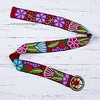 Wool belt, 'Garden Fashion in Cherry' - Embroidered Floral Wool Belt in Cherry from Peru