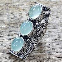 Chalcedony cocktail ring, 'Princess Trio' - Sterling Silver Full Finger India Ring with Blue Chalcedony