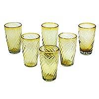 Blown glass tumblers, 'Amber Contours' (set of 6) - Handcrafted Blown Glass Tumblers (set of 6)