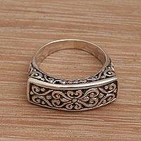 Sterling silver cocktail ring, 'Ancient Signet' - Sterling Silver Scrollwork Motif Cocktail Ring