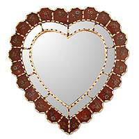 Mirror, 'Sweetheart' - Glass Reverse Painted Heart Wall Mirror