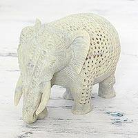 Soapstone figurine, 'Elephant Grandeur' - Hand Carved Soapstone Elephant Figurine from India