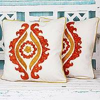 Cotton cushion covers, 'Radiant Allure' (pair) - Floral Tangerine Cotton Cushion Covers (Pair) from India