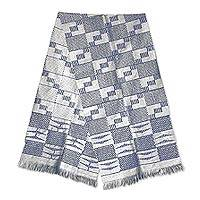 Cotton kente scarf, 'Blue Net' - Blue and White Cotton Kente Cloth Scarf