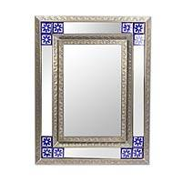 Tin and ceramic wall mirror, 'Forget Me Not' (medium) - Medium Mexican Embossed Tin Wall Mirror with Ceramic Tiles