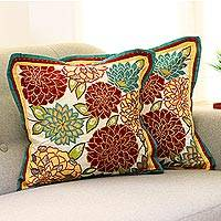 Applique cushion covers, 'Indian Marigolds' (pair) - Floral Patterned Cushion Covers (Pair)